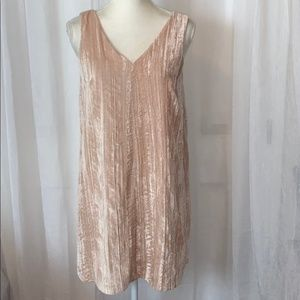 NWT LOFT Sleeveless Crushed Pink Velvet Dress 4P